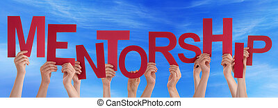 People Hands Holding Red Word Mentorship Blue Sky