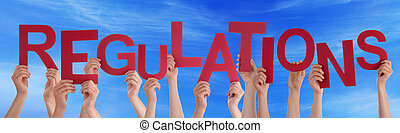 People Hands Holding Red Word Regulations Blue Sky