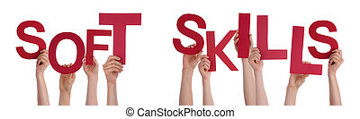 People Hands Holding Red Word Soft Skills - Many Caucasian...