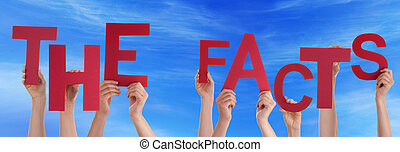 People Hands Holding Red Word The Facts Blue Sky