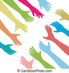Diverse people hands reach out across a division gap to unite connect help