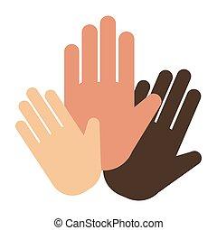 People hands showing greeting wrist direction symbol finger...