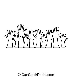 people hands up together icon