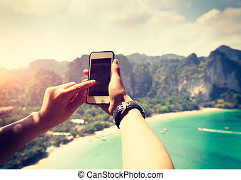 people hands use smartphone outdoor