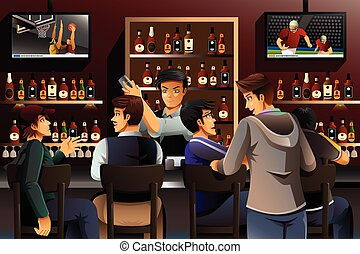 People Hanging out in a Bar - A vector illustration of...