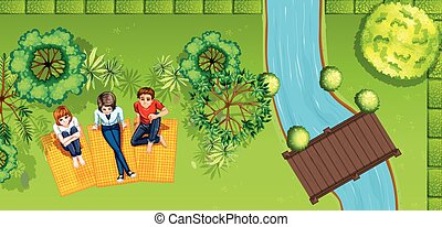 People hanging out in the park illustration