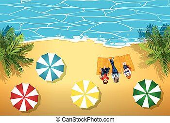People hanging out on the beach illustration