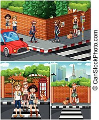 People hanging out on the street illustration