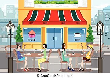People Hanging Out Outside a Cafe - A vector illustration of...