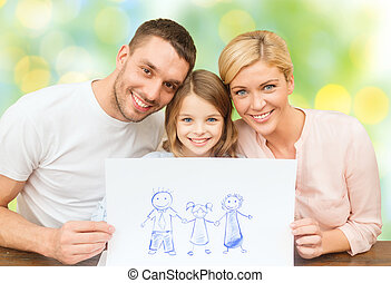 happy family with drawing or picture - people, happiness, ...