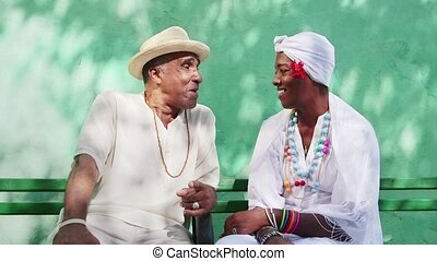 People, happy black couple smiling - Portrait of retired...