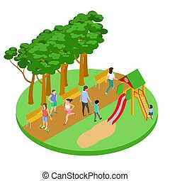 People have relax in park vector isometric concept