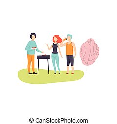 People Having BBQ Picnic on Nature, Friends Eating and Cooking Meat on Barbecue Grill Vector Illustration
