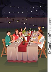 People Having Dinner Outdoor