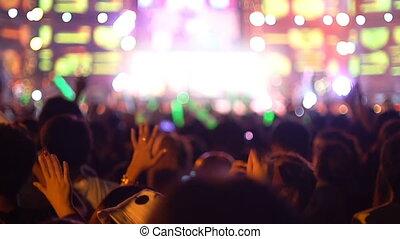 People having fun at rock concert slow motion