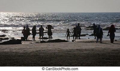 People having fun at the beach