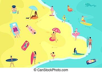 People having fun on the beach. Summer vacation beach people enjoying time vector illustration.