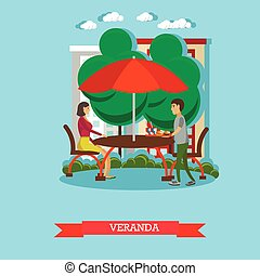 People having lunch on veranda. Vector illustration in flat style design. Street cafe concept poster