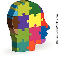 People head puzzle logo