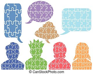 people head puzzle with speech bubbles