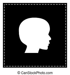 People head sign. Black patch on white background. Isolated.