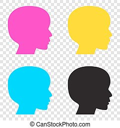 People head sign. CMYK icons on transparent background. Cyan, ma