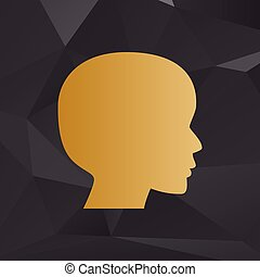 People head sign. Golden style on background with polygons.