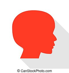 People head sign. Red icon with flat style shadow path.