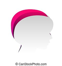 People head sign. Vector. Detachable paper with shadow at underl