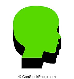 People head sign. Vector. Green 3d icon with black side on white