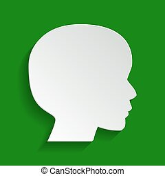 People head sign. Vector. Paper whitish icon with soft shadow on green background.