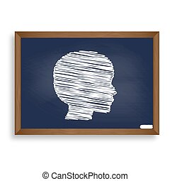 People head sign. White chalk icon on blue school board with sha
