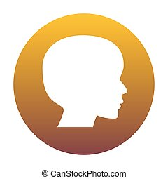 People head sign. White icon in circle with golden gradient as b