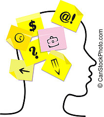 People head with memory stickers. Vector illustration
