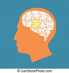 People head with puzzles elements