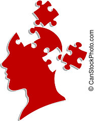 People head with puzzles elements for psychology or medical...