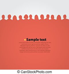 People heads silhouette red background.