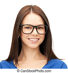 happy smiling young woman face in glasses - people, health...