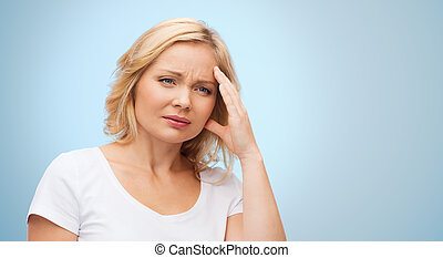 unhappy woman suffering from headache