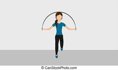 people healthy lifestyle - fitness woman jumping rope sport...