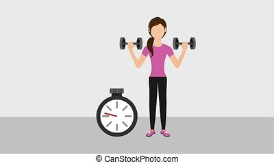 people healthy lifestyle - fitness woman with dumbbells...