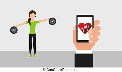 people healthy lifestyle - hand holds smartphone heartbeat...