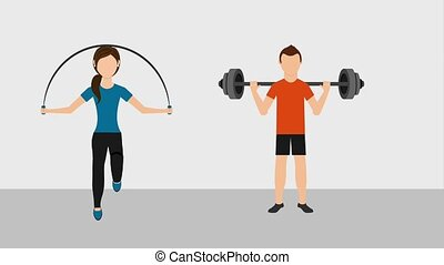people healthy lifestyle - man lifting barbell and woman...