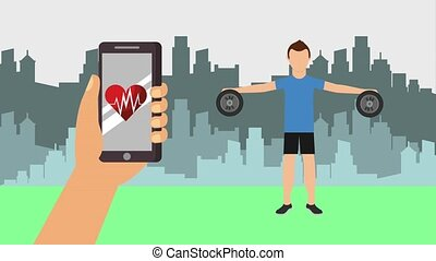 man lifting dumbbells and hand with smartphone lifestyle in the park
