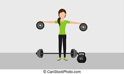 people healthy lifestyle - sport woman training with weight...