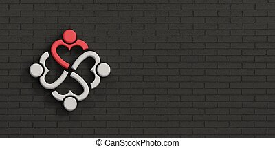 People Heart Leader in Brick Black Wall. 3D Rendering Illustration
