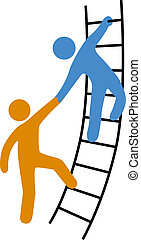 Person helping friend or partner join to climb up the ladder of success