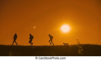 people hikers group happiness run and the dog silhouette of...