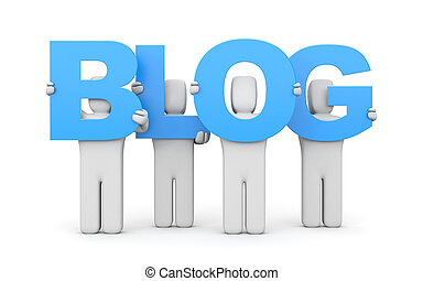 People hold letters forming the word BLOG. 3d illustration