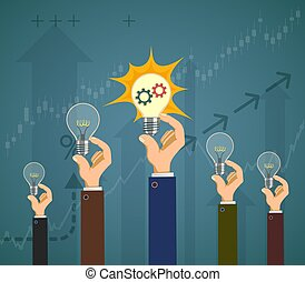 People hold light bulbs in their hands. Success in business.